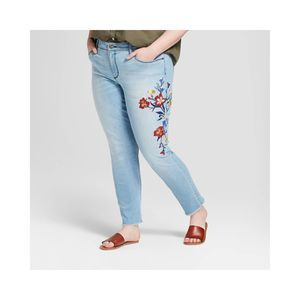 Universal Thread Mid Rise Embroidered Skinny Jeans